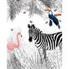 Papier peint adhesif panoramique scene animaux zebre