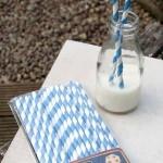 Pailles  en papier -  Bleu et blanc