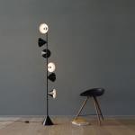 Lampadaire 6 Cones Vertical Noir - Intérieur blanc