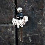 Sautoir - Colombine noire et rose