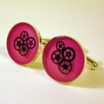 Boutons de manchette - Engrenages Rose