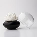 Distributeur de coton tige - Lotus blanc et noir
