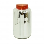 Grand vase bocal déco - Argent et couvercle rouge