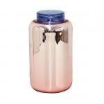 Grand vase bocal déco - Vieux rose argenté et couvercle bleu