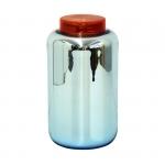 Grand vase bocal déco - Bleu argenté et couvercle rouge