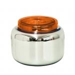 Petit vase bocal déco - Argent et couvercle rouge