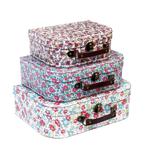 Lot de 3 valisettes carton - Petites fleurs