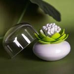 Distributeur de coton tige - Lotus vert et blanc