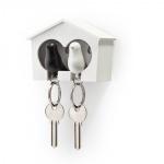 Porte clé oiseaux duo noir et blanc et support cabane