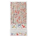 Lot de 25 pailles en papier à motif fleur