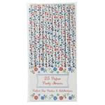 Lot de 25 pailles en papier à motif fleur bleu