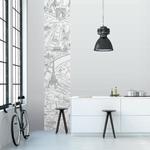 Lé de papier peint - 7011 - Plan de Paris monumentale gris