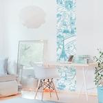 Lé de papier peint - 8003 - Plan de Paris monumentale bleu