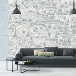 Papier peint panoramique - 8001 - Plan de Paris monumentale gris