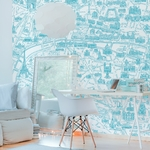 Papier peint panoramique - 8003 - Plan de Paris monumentale bleu