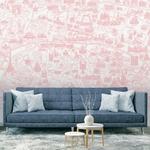 Papier peint panoramique - 8004 - Plan de Paris monumentale rose