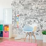 Papier peint panoramique enfant - 143182 - Plan de Paris monumentale à colorier