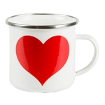 Mug métal émail - Coeur rouge
