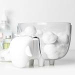 Boite à coton mouton blanc transparent