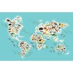 Tapis vinyle enfant carte du monde animaux