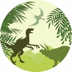 Tapis vinyle rond enfant Dinosaure
