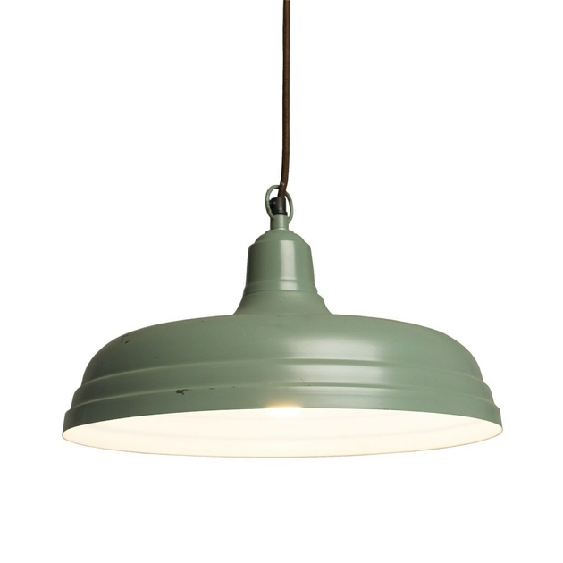 Grande suspension industrielle verte luminaire for Grande suspension luminaire