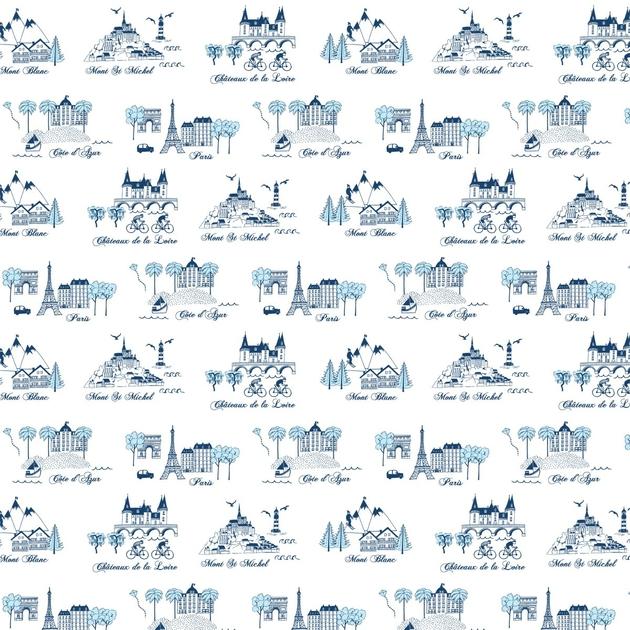 l de papier peint 7002 bienvenue en france bleu. Black Bedroom Furniture Sets. Home Design Ideas