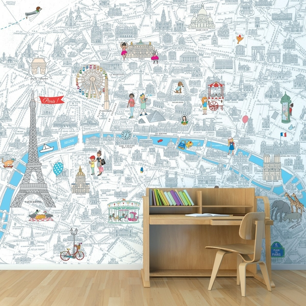 papier peint panoramique enfant 8002 mes vacances paris d co stickers et papiers peints. Black Bedroom Furniture Sets. Home Design Ideas