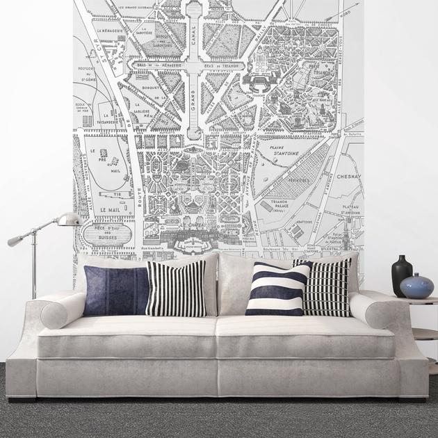 papier peint panoramique 143180 versailles et ses promenades noir et blanc d co et papiers. Black Bedroom Furniture Sets. Home Design Ideas