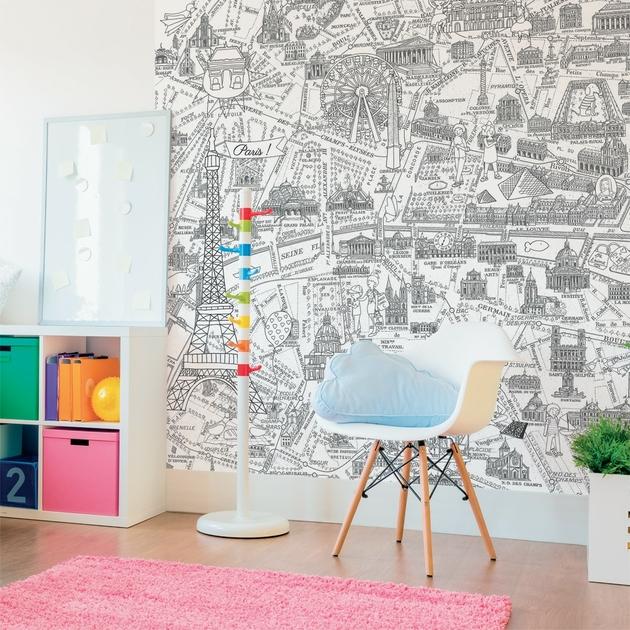 papier peint panoramique enfant 143182 plan de paris. Black Bedroom Furniture Sets. Home Design Ideas