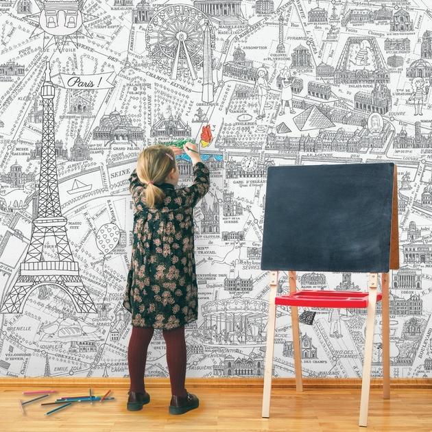 Papier peint panoramique enfant 143182 plan de paris monumentale colorier d co et papiers - L art du papier paris ...