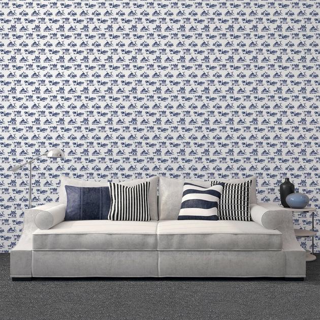 rouleau de papier peint 143184 bienvenue en france bleu. Black Bedroom Furniture Sets. Home Design Ideas