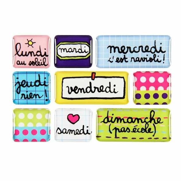 boite de 9 magnets lundi au soleil cuisine aimants d co et magnets frigo design from paris. Black Bedroom Furniture Sets. Home Design Ideas