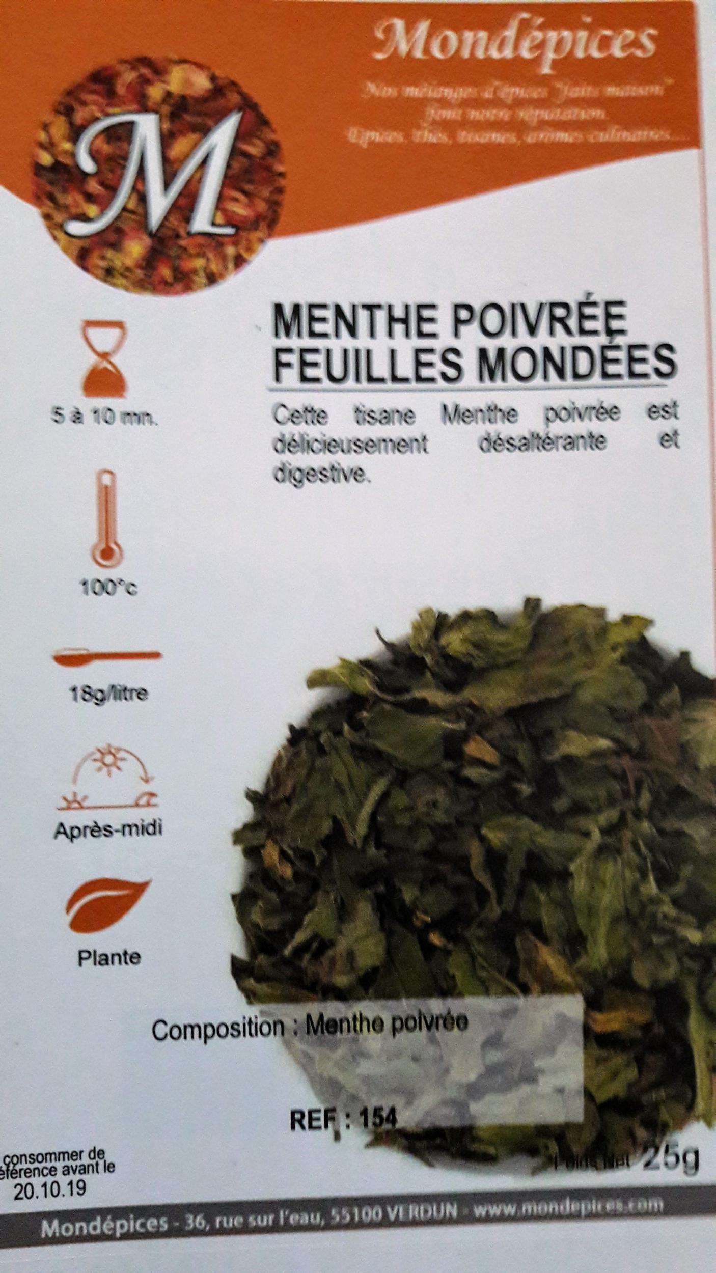 MENTHE POIVREE FEUILLES MONDEES 25 g