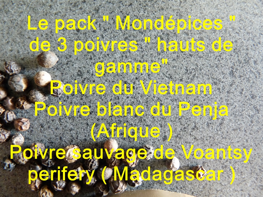 PACK POIVRES : Voantsy,Penja blanc, Vietnam (3 x 25 g)