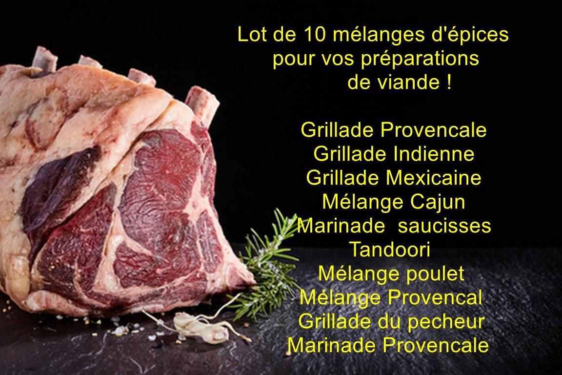 LOT 10 mélanges épices pour viande