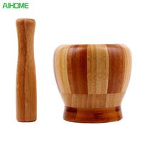Mortier et pilon en bois bambou