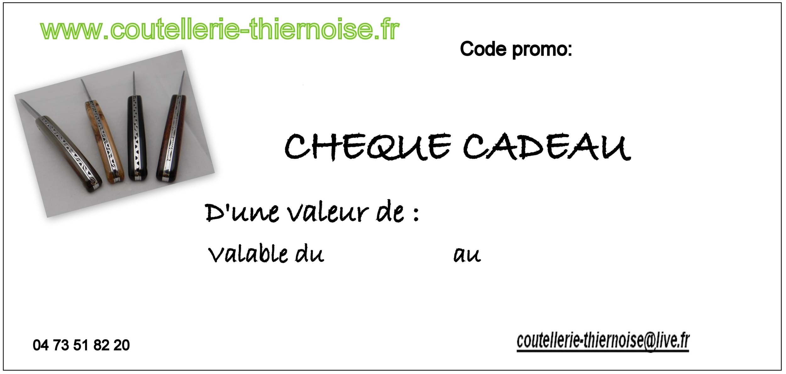 cheque cadeau cheque cadeau coutellerie thiernoise. Black Bedroom Furniture Sets. Home Design Ideas