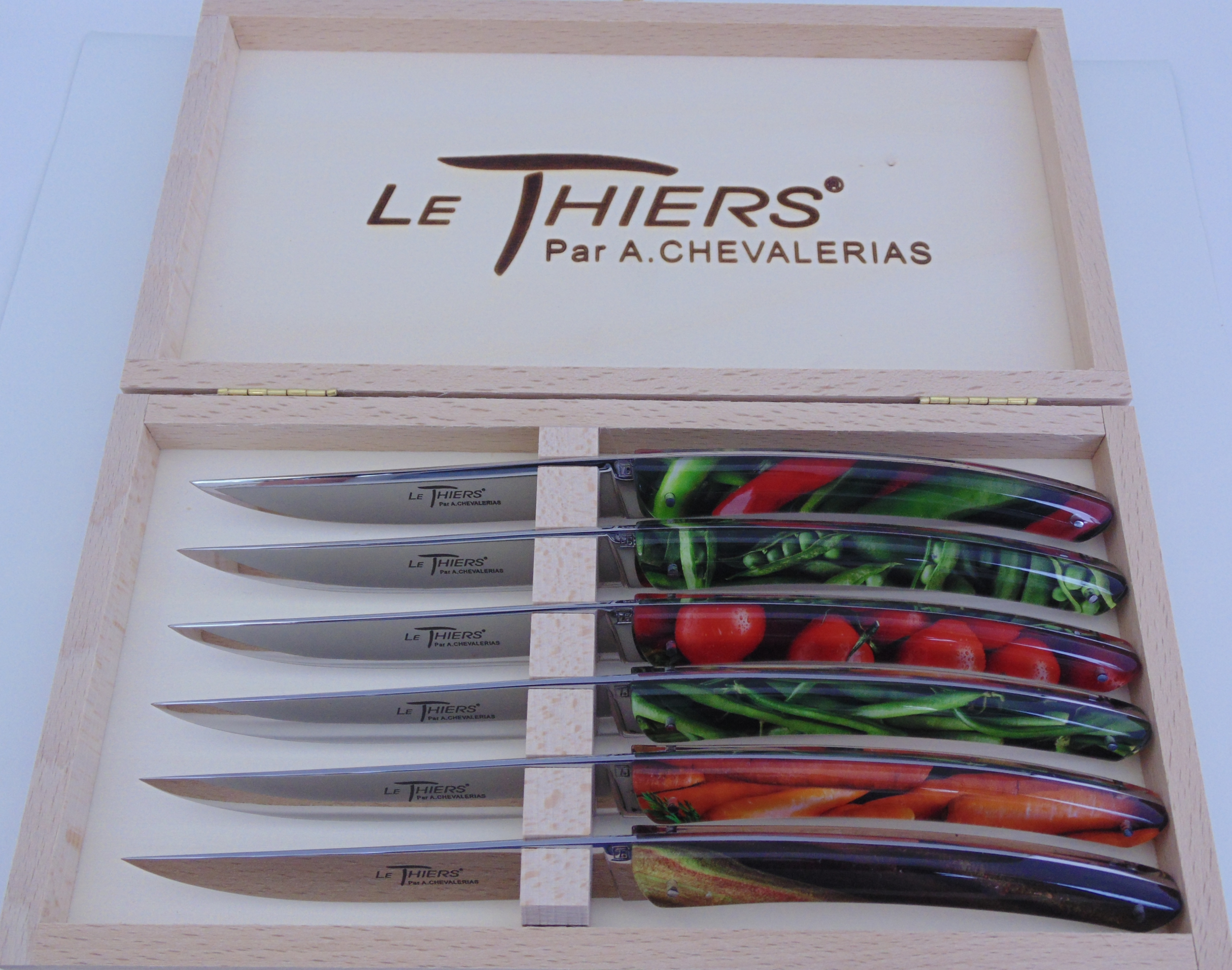 COFFRET DE 6 THIERS TABLE  RESINE LEGUMES PLEIN MANCHE