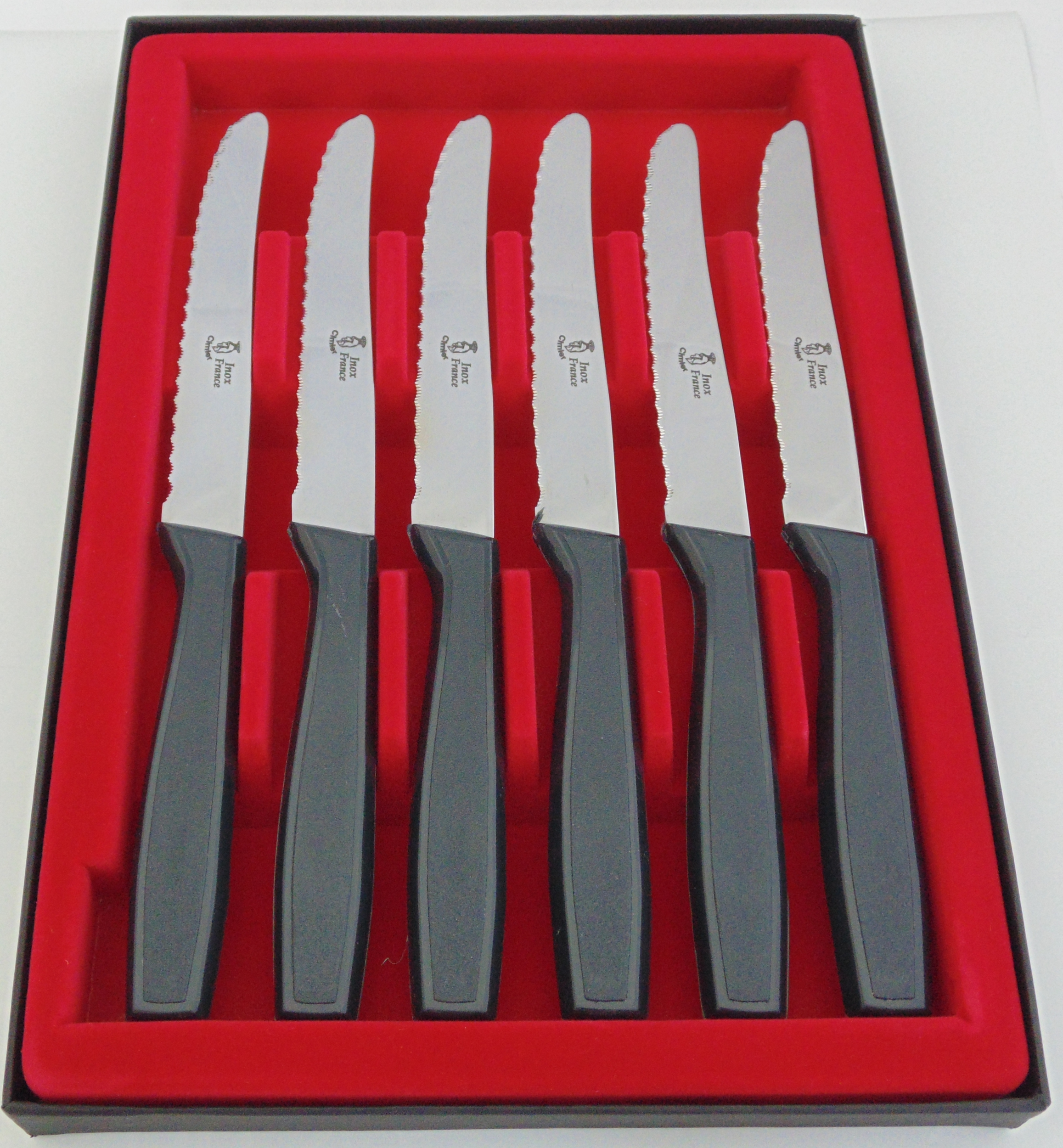COFFRET DE 6 COUTEAUX TABLE STEAK GRIS