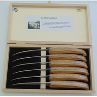 COFFRET DE 6 SAINT GUILHEM TABLE BOIS D'OLIVIER