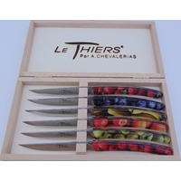 COFFRET DE 6 THIERS TABLE RESINE MARBREE FRUITS PLEIN MANCHE