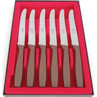 COFFRET DE 6 COUTEAUX TABLE STEAK MARRON