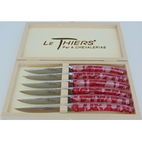 COFFRET DE 6 THIERS TABLE  RESINE INCRUSTE DE DENTELLE ROUGE PLEIN MANCHE