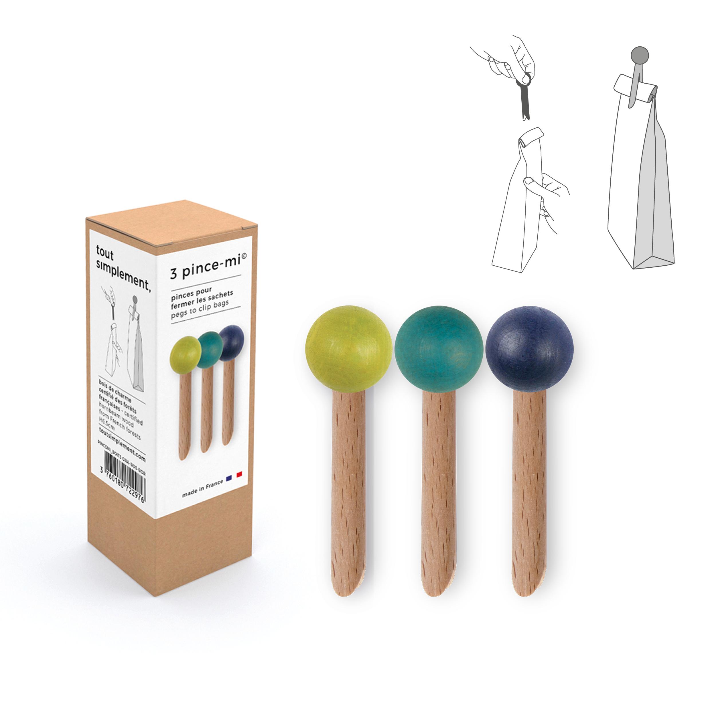 boîte de 3 pinces à sachet en bois - vert/bleu canard/bleu nuit