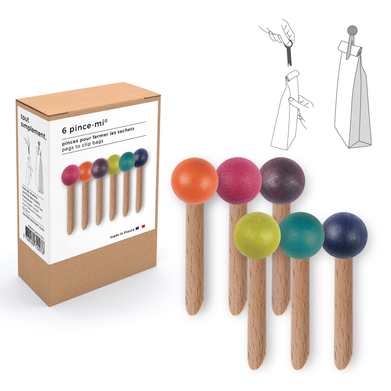 boîte de 6 pinces à sachet en bois - couleur