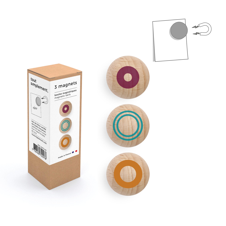 boîte de 3 boules magnétiques en bois - motif couleur