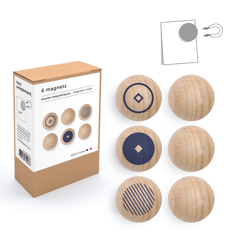 boîte de 6 boules magnétiques en bois - motif bleu