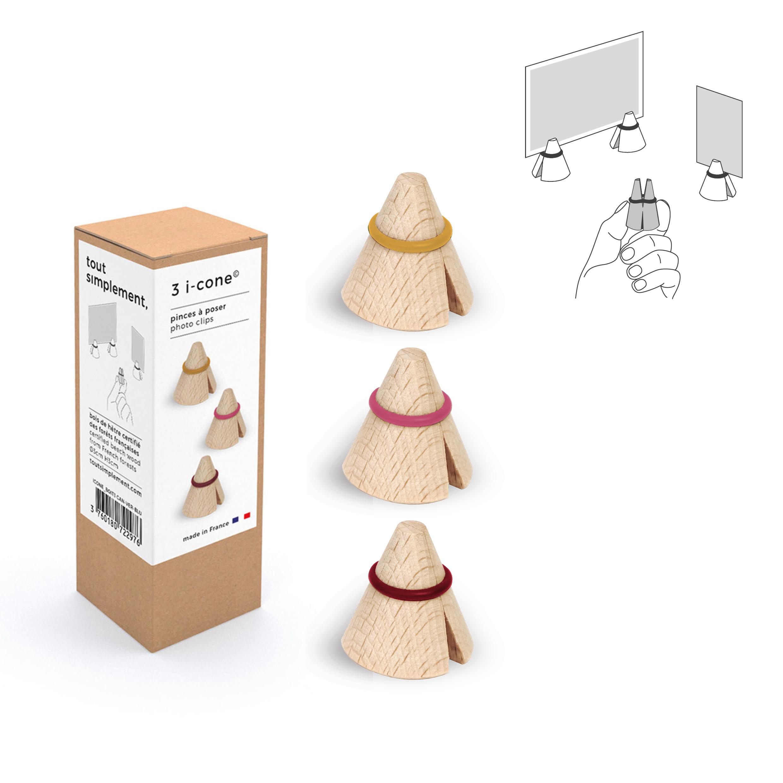 boîte de 3 pinces photo & mémo en bois - moutarde/rose/bordeaux