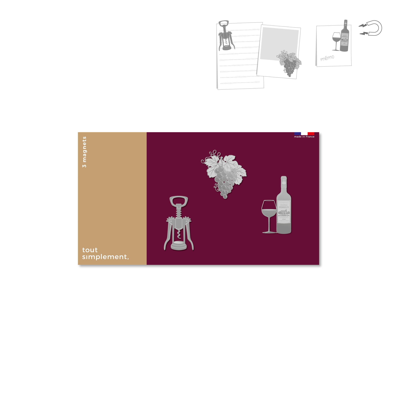 carte de 3 magnets en métal - oenologie Bordeaux